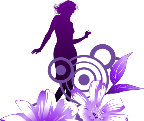 silhouette in flowers